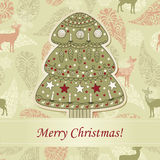Greeting Card with Fir Tree Royalty Free Stock Photo