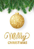 Greeting card with fir tree branches, hanging glitter ball and Merry Christmas text. Christmas card with fir tree branches, hanging glitter ball and Merry Stock Images