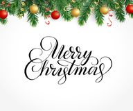 Greeting card with fir tree garland, ornaments and Merry Christma. Vector holiday background with fir tree branches, ornaments and Merry Christmas letters Stock Photography