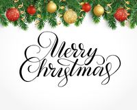 Greeting card with fir tree garland, ornaments and Merry Christma. Vector holiday background with fir tree branches, ornaments and Merry Christmas letters Royalty Free Stock Photo
