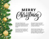 Greeting card with fir tree garland, ornaments and Merry Christmas text. Background with fir tree branches, ornaments and Merry Christmas letters. Hanging balls Stock Photo