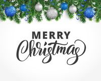 Greeting card with fir tree garland, ornaments and Merry Christmas text. Vector holiday background with fir tree branches, ornaments and Merry Christmas letters Royalty Free Stock Photography