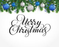 Greeting card with fir tree garland, ornaments and Merry Christmas text. Vector holiday background with fir tree branches, ornaments and Merry Christmas letters Royalty Free Stock Photos