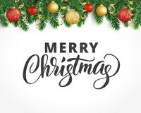 Greeting card with fir tree garland, ornaments and Merry Christmas. Vector holiday background with fir tree branches, ornaments and Merry Christmas letters Royalty Free Stock Photography