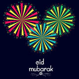 Greeting card with firecrackers for Eid Mubarak. Royalty Free Stock Images