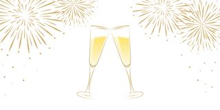 Greeting card fireworks and two champagne glasses on white background happy new year vector illustration