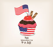 Greeting card with flag. American patriotic themed cupcake for the 4th of July Stock Photography