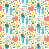 greeting card Flat style illustration  Mother with Child Mother`s day poster  Happy motherhood daughter seamless   pattern print stock illustration
