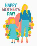 greeting card Flat style illustration  Mother with Child Mother`s day poster  Happy motherhood daughter seamless   pattern print vector illustration