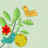 Greeting card. Floral and birds decorative card Royalty Free Stock Photo