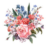 Greeting Card Floral Bouquet with roses Stock Images