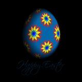 Greeting card - floral Easter egg with text Stock Photo