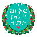 Greeting card with floral frame and hearts Royalty Free Stock Photos