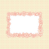 Greeting card with floral frame and ornamental background. Vector illustration royalty free illustration