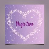Greeting card - floral frame in the shape of a heart on a pink background. Magic time. Beautiful mock-up greeting card - floral frame in the shape of a heart royalty free illustration