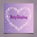 Greeting card - floral frame in the shape of a heart on a pink background. Merry Christmas. Greeting christmas card with a flat design on a pink gradient stock illustration