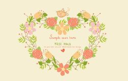 Greeting card with floral heart shape Royalty Free Stock Photos