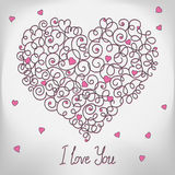 Greeting card with floral heart shape. I love You. Sign Stock Image