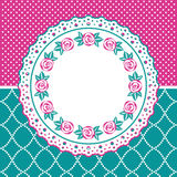 Greeting card with floral lace frame Royalty Free Stock Photo