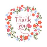 Greeting card with floral ornament and hand-written lettering Thank you. Cute, bright background with flowers. Vector illustration Royalty Free Stock Images