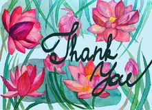 Greeting card with floral ornament and hand-written lettering Thank you watercolor. Greeting card with floral ornament and hand-written lettering Thank you Stock Images