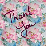Greeting card with floral ornament and hand-written lettering Thank you watercolor. Greeting card with floral ornament and hand-written lettering Thank you Stock Photo