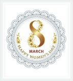 March 8 Happy Women`s Day background. Greeting card with a floral pattern in an openwork circle with a beautiful bow Royalty Free Illustration