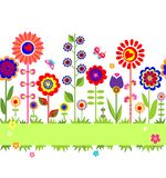 Greeting card with floral seamless border Stock Image