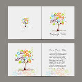 Greeting card with floral tree Stock Image