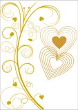 Greeting card with flourish design and hearts. A Greeting card with flourish pattern and hearts in rings in gold on white background Stock Photo
