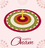 Greeting card of flower rangoli decoration Stock Photo