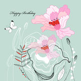 Greeting card with flowers Stock Photo