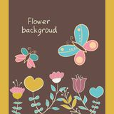Greeting card with flowers. Hearts, butterfly Stock Photo