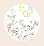 Greeting card with flowers, bird - circle design Stock Images