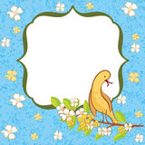 Greeting card with flowers and bird. Stock Photos