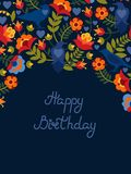 Greeting card with flowers and birds ravens. Text: `Happy birthday`. Bright images on a dark background. Vector illustration Royalty Free Stock Image