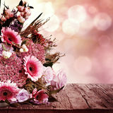 Greeting card with flowers bouquet Stock Photo
