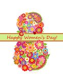 Greeting card with flowers bouquet for Womans Day Royalty Free Stock Photo