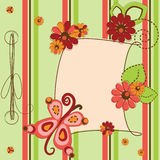 Greeting card with flowers and butterfly Royalty Free Stock Images