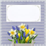 Greeting card with flowers and card for text on vintage background with lace Stock Photography