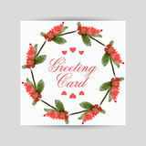 Greeting card with flowers in a circl Royalty Free Stock Photo