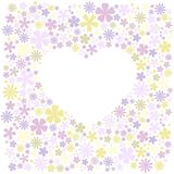 Greeting card with flowers field and white shape of heart for text. Stock Photo