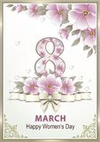 March 8 March 8 Women`s Day greeting card with pink flowers. Greeting card with a flowers and hearts in a frame with a pattern stock illustration
