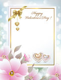 Greeting card with flowers and hearts on Valentine's Day Stock Photo