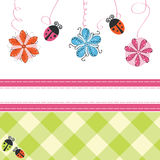Greeting card with flowers and ladybirds Royalty Free Stock Images