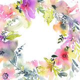 Greeting card with flowers. Pastel colors. Handmade. Watercolor Royalty Free Stock Photos