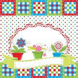 Greeting card with flowers in pot Stock Images