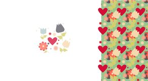 Greeting card flowers tulips heart love romantic royalty free illustration