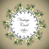 Greeting card with flowers, watercolor, can be used as invitation card  and other holiday and  summer background. Royalty Free Stock Photography