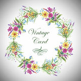 Greeting card with flowers, watercolor, can be used as invitation card  and other holiday and  summer background. Stock Photo